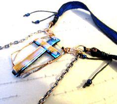 Upcycled Sari Silk Ribbon Fused Glass Cross Pendant by mmartiniuk, $46.00