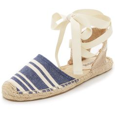 Soludos Candy Stripe Sandals ($56) ❤ liked on Polyvore featuring shoes, sandals, navy white, soludos shoes, woven sandals, wide sandals, wide ankle strap sandals and braided ankle-wrap sandal