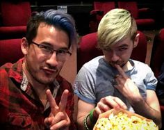 "Movie time with Mark and Jack <3 <3 <3 <3 <3 <3 <3 <3 <3 <3 <((what am I doing? I really shouldn't be posting at an ""ungodly"" hour like this...))>"
