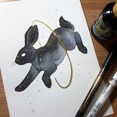 Kinschi_Draws: Day A starry Rabbit Pretty Art, Cute Art, Animal Drawings, Cute Drawings, Rabbit Drawing, Rabbit Art, Illustration Art, Illustrations, Geeks