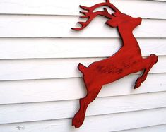 Bring a Rudolph Reindeer Home! A classic companion to Santa, this elegant wooden reindeer is perfect for the Christmas holidays. Christmas Wood Crafts, Christmas Yard, Noel Christmas, Christmas Projects, Winter Christmas, Christmas Lights, Holiday Crafts, Reindeer Christmas, Holiday Decor