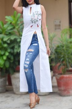 A line kurti - Buy White Pure Linen Embroidered ALine Kurti by Colorauction Online shopping for Kurtis in India Indian Fashion Dresses, Dress Indian Style, Indian Designer Outfits, Designer Dresses, Fashion Outfits, Indian Outfits, Designer Kurtis, Indian Gowns, India Fashion