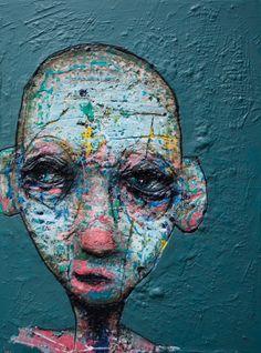 Le relief accidenté des oeuvres de Sylvain Coulombe donne une puissance et une profondeur à ses personnages colorés aux têtes déformées L'art Du Portrait, Abstract Portrait, Abstract Faces, Abstract Art, Art Visage, Face Art, Art Faces, Alberto Giacometti, Modern Portraits