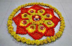 Small rangoli design with flowers