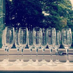 2016.07.16 Personalised champagne glasses. Hannah's hen do.