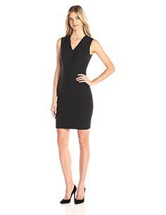 Elie Tahari Women's Gwenyth Seasonless Wool V-Neck Sheath Dress, Black, 4