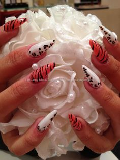 Acrylic stiletto nails with ocean coral and white gel polish with zebra and love heart leopard freehand nail art