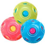 XaXa: lightweight toy, pull apart hollow core ball, removable phthalate & latex free tactile skin; filling ball with varying objects & amounts changes sound, weight; blind & visually impaired use to explore alike & different