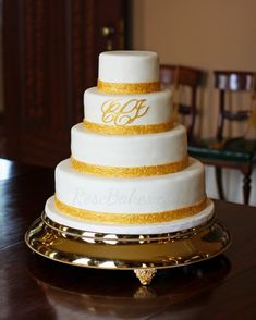 Gold Wedding Cake Plus enter to win a Pazzles Inspiration Creative Cutter ($638.95 MSRP) to cut monograms like the one on this cake!