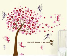 Muursticker roze bloesem boom met elfjes. Leuk voor in de kinderkamer of babykamer Wall decoration pink blossom tree with fairies. http://www.stickerkamer.nl/a-37852666/bomen/muursticker-roze-bloesem-boom-met-elfjes/