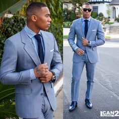 Blue suit look
