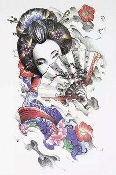 Japanese Girl with Fan Tattoo 21 X 15 CM Sized Sexy Cool Beauty Tattoo Waterproof Hot Temporary Tattoo Stickers Geisha Tattoos, Geisha Tattoo Design, Art Geisha, Geisha Kunst, Japanese Girl Tattoo, Japanese Tattoo Designs, Tattoo Japonais, Art Japonais, Bild Tattoos