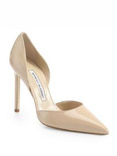 MANOLO BLAHNIK Tayler Patent Leather d'Orsay Pumps. #manoloblahnik #shoes #pumps