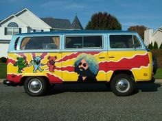 A Grateful Dead VW bus. That's like peas and carrots, PB and J, Deadheads and bongs. Volkswagen, Vw Bus, Trailer Tent, Trailers, Dead And Company, Vanz, Wheels On The Bus, Mobile Art, Vintage Hippie