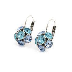 Moliere Paris Licht blauwe oorbellen flower met Swarovksi Elements kristallen in…