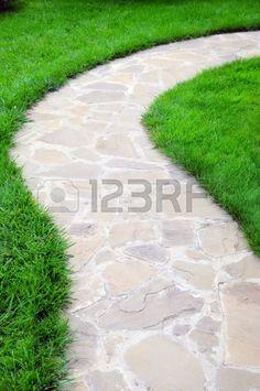 Light Flagstone Path Flagstone Walkway Landscaping Network Calimesa, CA Backyard Walkway, Flagstone Walkway, Front Walkway, Backyard Landscaping, Landscaping Ideas, Walkway Ideas, Stone Walkways, Pergola Ideas, Landscape Design