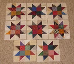 Luv 2 Stitch. scrappy star quilt blocks