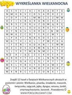 Wykreślanka dyscypliny sportowe do wydruku | Pokoloruj Świat Learn Polish, Polish Language, Kids Education, Fun Learning, Kids And Parenting, Worksheets, Crafts For Kids, Easter, Printables