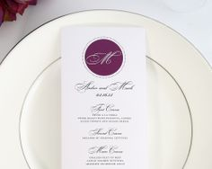 Circle Monogram Wedding Menus - Wedding Menus by Shine