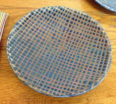 Dinner Plate with Blue Crosshatch Decoration Ron Philbeck pottery  Soda Glazed Stoneware