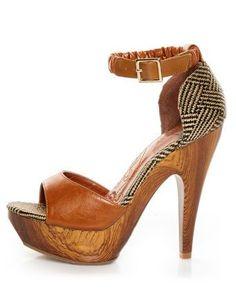 Tendance Chaussures   Mona Mia Trinidad Tan Woven Platform Heels