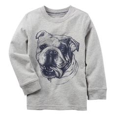 Boys 4-8 Carter's Long Sleeve Bulldog Graphic Tee, Boy's, Size: 8, Light Grey