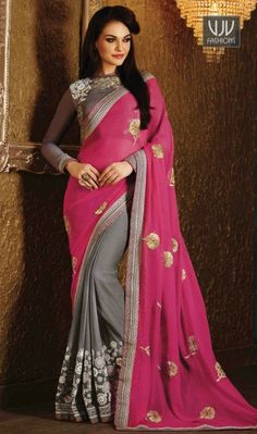 Buy Now @http://goo.gl/Ix69Go  Ruritanian Grey And Pink Georgette Designer Saree  Give in to the exotic confluence of today & tomorrow in this beautiful attire. Be your own style diva with this grey and pink georgette and silk designer saree. The embroidered, patch border and zari work on attire personifies the entire appearance.  Product No  VJV-MANJ578  @ www.vjvfashions.com  #saree #sarees #indianwear #indianwedding #fashion #fashions #trends #cultures #india #instagood #weddingwear