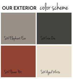 Exterior Paint Final Reveal - Jolly Little Times Exterior color scheme Sherwin Williams (shingle siding)SW Iron Ore, (main color) Elephant Ear, (front door) Flower Pot, (trim) Aged White. House Exterior Color Schemes, Exterior Paint Colors For House, Paint Colors For Home, Paint Colours, Outside House Paint Colors, Exterior Paint Color Combinations, Exterior Paint Ideas, Gray Exterior Houses, House Siding Colors