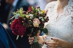 Romantic Autumnal wedding bouquet with berries, Hydrangea, Roses, Wax flower and Astilbe. Photo by Samuel Docker