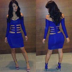 2014 new fashion elegnat long sleeve off shoulder women sexy club wear hollow bodycon bandage dresses KM088 $14.99