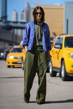 The Most Authentically Inspiring Street Style From New York #refinery29  http://www.refinery29.com/2015/09/93788/ny-fashion-week-spring-2016-street-style-pictures#slide-50  It's not often you see army green from head to toe....