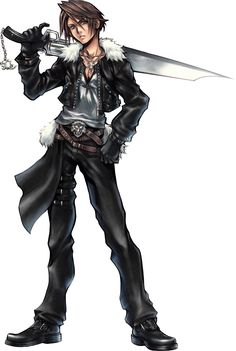A sprite of Squall occasionally appears in the loading section of the Final Fantasy Anthology port. Squall and Rinoa appear in a technical demo for the PlayStation 2 where they reenact the waltz scene to showcase the console's graphical capability. Arte Final Fantasy, Final Fantasy Artwork, Final Fantasy Characters, Video Game Characters, Fantasy Series, Demon Possession, Character Art, Character Design, Tetsuya Nomura