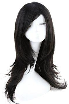 Korean Hairstyles, Kawaii Hairstyles, Black Cosplay Wig, Cosplay Wigs, Anime Wigs, Side Bangs, 90 Degrees, Hair Sticks, Girl Hair