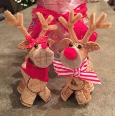 Rudolph & Clarice Wine Cork Reindeer Ornaments by JoyousStrains
