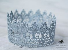 Vintage Inspired Gold or Silver Lace Crown/Tiara newborn, baby or child photography prop by Robins Nest Boutique