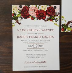 Burgundy Red and Blush Flowers including roses, peonies and anemones top this modern wedding invitation