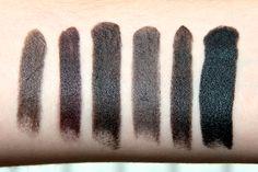 (Left to right) Miss Sporty - Extreme Black, Manic Panic - Lethal, Stargazer - 110 Black, Manic Panic - Raven, Barry M - Black, Portland Black Lipstick company - Black #lipstick #black