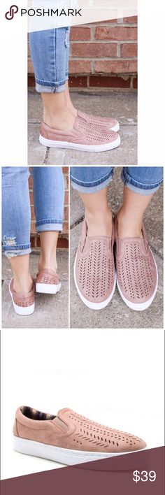 Only 2 left❗Blush Pink Slip on Sneakers Trendy and super comfy slip on sneakers. A spring/ summer must have! Style them with your favorite jeans, leggings or shorts. Fits true to size. If between sizes, size down Bchic Shoes Sneakers