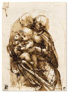 Leonardo da Vinci, 1452-1519, Italian, Study for a 'Madonna with a Cat', c.1478-1480.  Pen and ink over stylus underdrawing, 13.2 x 9.5 cm.  British Museum, London.  High Renaissance.