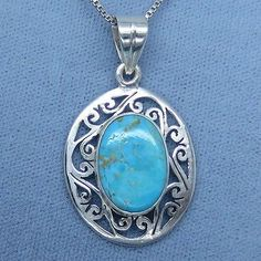 Arizona Turquoise Jali Style Pendant Necklace - Sterling Silver