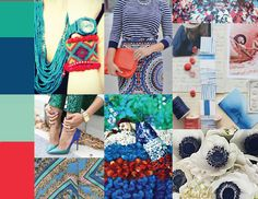emerald + monaco blue + grayed jade + poppy red    Spring 2013 Pantone Moodboard    @PANTONE COLOR