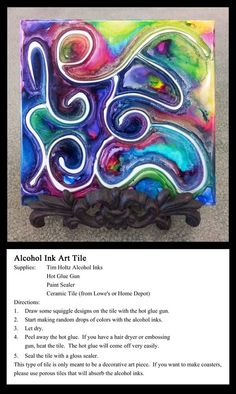 Alcohol ink art tile: make a design on the tile using the hot glue gun. drop tim holtz alcohol inks randomly to cover the entire tile. let dry. Alcohol Ink Tiles, Alcohol Ink Crafts, Alcohol Ink Painting, Rubbing Alcohol, Sharpie Art, Sharpies, Tile Crafts, Tangle Patterns, Art Graphique