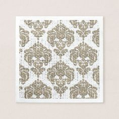 Rustic Glamour Burlap Royal Damask Chic Modern Paper Napkin - bridal shower gifts ideas wedding bride