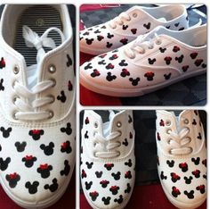 Disney mickey and minnie shoes Or use this to do on a white shirt Disney Shirts, Disney Outfits, Mickey Mouse Shoes, Disney Time, Decorated Shoes, Disney Mickey, Disney Cruise, Disneyland Trip, Disney Addict