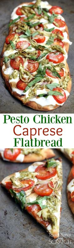 Chicken Pesto Caprese Flatbread is the perfect easy dinner idea!   Tastes Better From Scratch