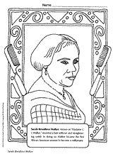 Sarah Breedlove Walker -- Coloring Page Printable (Pre-K - 5th Grade) - TeacherVision.com