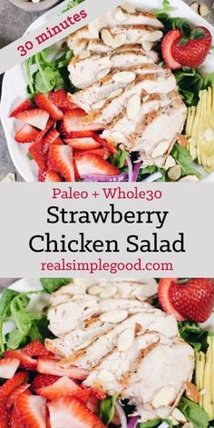 In just 30 minutes this Paleo savory and sweet strawberry chicken salad will be on the table! It's full of flavor and super easy to make! Simple chicken pairs perfectly with arugula spinach strawberries avocado red onion sliced almonds and Whole 30 Salads, Whole 30 Lunch, Paleo Whole 30, Whole 30 Recipes, Paleo Recipes, Real Food Recipes, Delicious Recipes, Cooking Recipes, Comidas Paleo