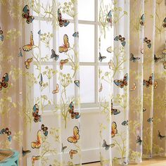 Home Window Decor Voile Valance Tulle Floral Butterfly Sheer Curtains