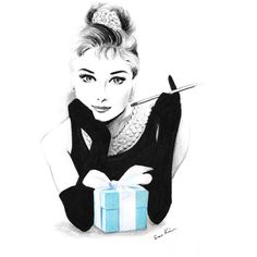 Audrey Hepburn Breakfast at Tiffany's Pencil and pen drawing ($22) ❤ liked on Polyvore featuring home, home decor and white home decor
