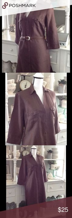 "Linen 3/4 sleeve shirtdress 100% linen, perfect for hot summer days! Washable. Size UK 12. Approximate measurements: bust 42"", waist 39"", length from shoulder to hem 39"". Belt not included. Pre-loved condition with no visible stains or tears. Monsoon Dresses"